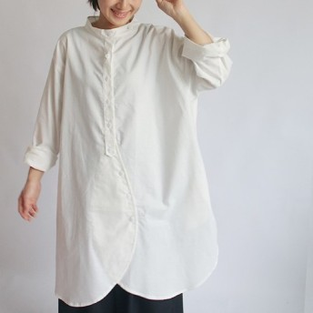 ●3/31春ウララSALE●白・着る「 立襟 画家 シャツ」上質コットン100%羊いスタンド襟ロング前開きコートA17