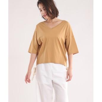INED L 《大きいサイズ》Vネックドロップショルダーカットソー Tシャツ・カットソー,キャメル1