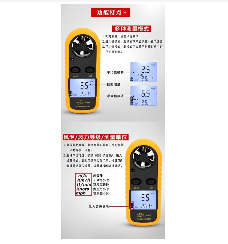 windmeter gm816手持式測風儀 高精度風速計 風力風量測試儀 風速測量儀 (不含電池)