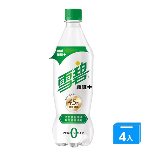 雪碧纖維+600mlx4【愛買】