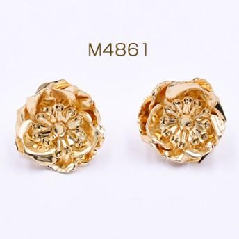 M4861 6個 ピアス金具 3連三弁花 25×25mm ゴールド 3×【2ヶ】