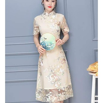 XLEIYI チャイナドレス夏新毎日の半袖チャイナドレスのスカートの新しいガールヤングミッドレングススリム刺繍入りドレス女性 (色 : Apricot, サイズ : L)
