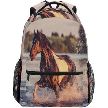 EILANNA リュックサック、馬のギャロッピングフォワードレイクスピリットの風自由と安定性のテーマのエンブレム、軽量 大容量 男女兼用 おしゃれ 可愛い リュックバックパッ 通学 通勤 外出 アウトドア 多機能