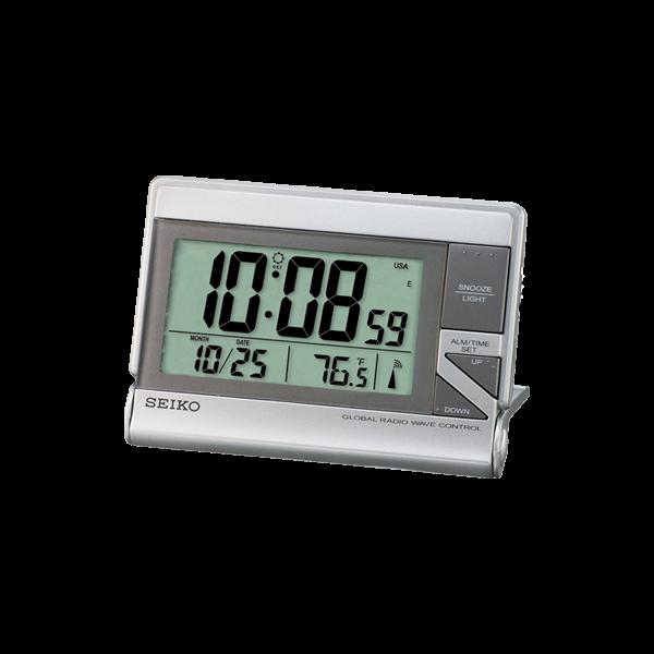SEIKO精工 、接收電波(日本、美國、德國、英國) 、漸強式嗶嗶鬧鈴、貪睡功能、鬧鈴自動停止(1分鐘後)、日曆、溫度顯示、燈光【QHR024S】原廠公司貨 ,附原廠保證卡