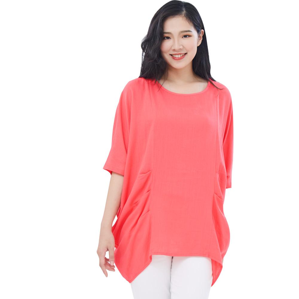 Jumase簡約歐風 天然棉麻上衣一亮粉紅 中大尺碼 (D18052077)短袖