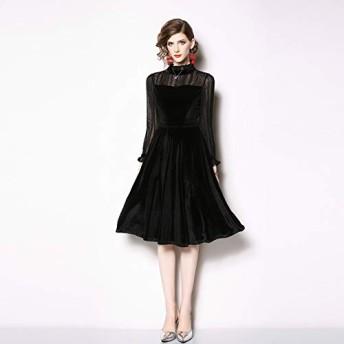 服装やアクセサリー ドレス CZアンバーベルベットのシフォンスリーブドレス (色 : ブラック, サイズ : XL)