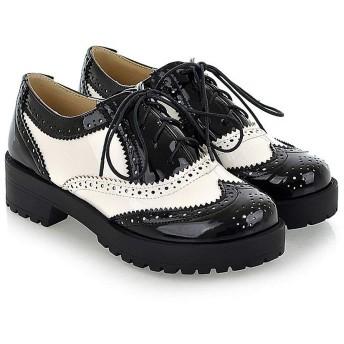 [サマーショップ] オックスフォードシューズ レディース 革靴 レザー 通学 通勤 レースアップ パンプス シューズ 靴 おじ靴 太めヒール カジュアル 女性 男性 用 (ホワイト, measurement_23_point_0_centimeters)
