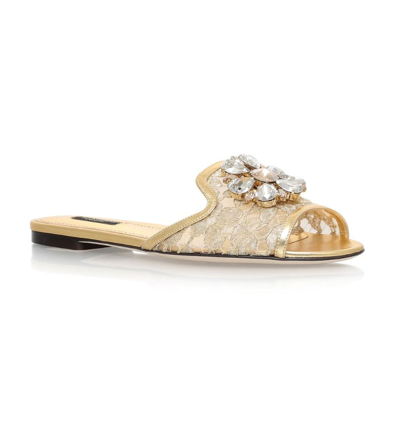 Dolce & Gabbana Lace-Embellished Bianca Sandals