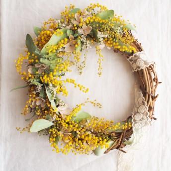 Wreath*ミモザ-オーバル