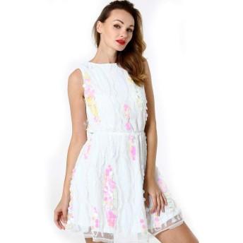 服装やアクセサリー ドレス CZ女性のスパンコールラウンドネック無益クリップ (色 : 白, サイズ : One Size)