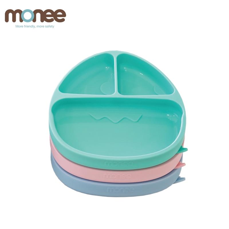 韓國monee 100%白金矽膠恐龍造型可吸式白金矽膠餐盤(3色) 米菲寶貝