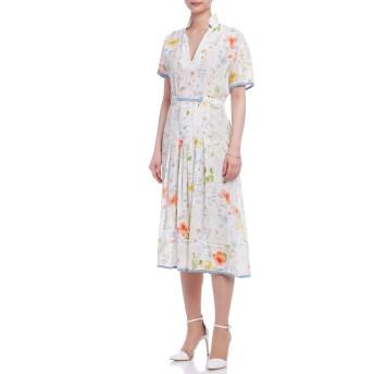 【75%OFF】Vネック プリント リボン アイレット 半袖ドレス ホワイト 38