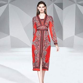 服装やアクセサリー ドレス CZレトロエスニックスタイル膝丈のカレー (色 : 赤, サイズ : M)