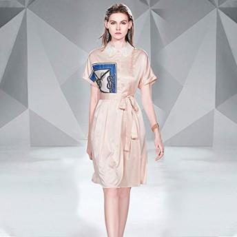 服装やアクセサリー ドレス CZレースアップウエストビッグスイングプリントHabilitate (色 : ピンク, サイズ : L)