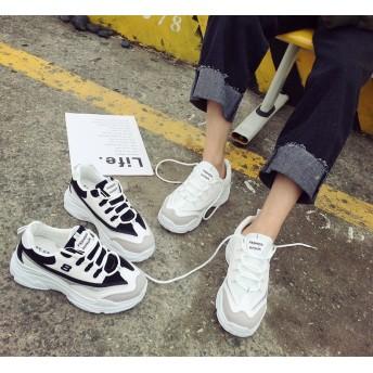 韓国ファッション 韓国大人気スニーカー シューズ レディースファッション厚底スニーカー 靴 軽量 通気性