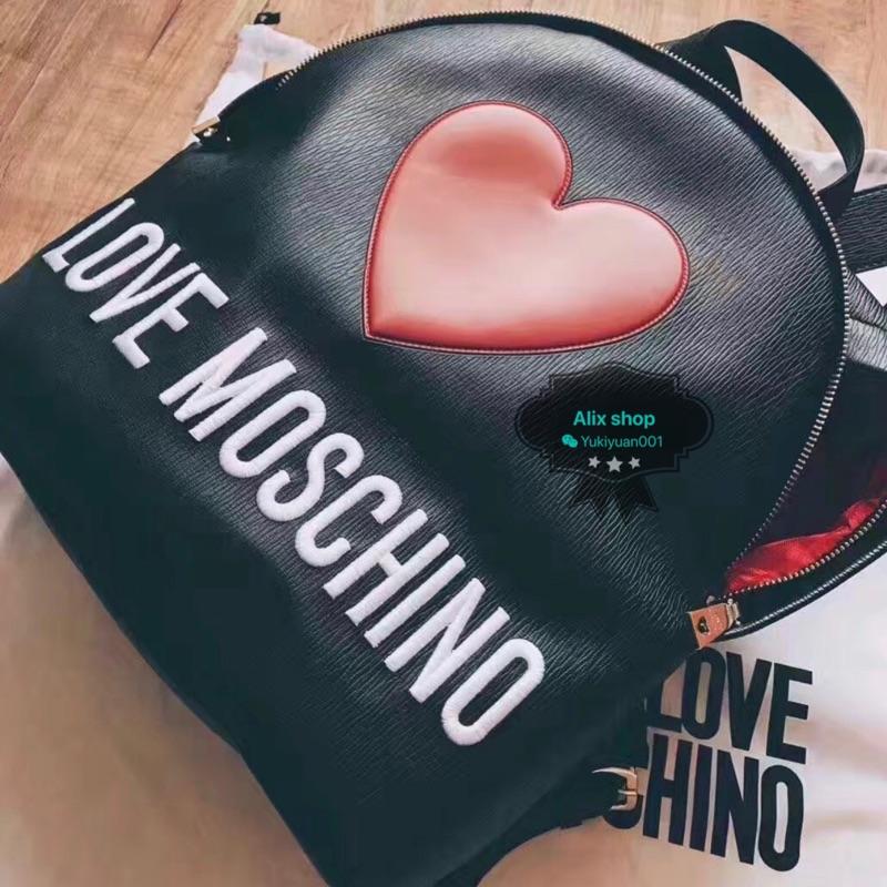 Moschino love 愛心 Logo 皮革後背包