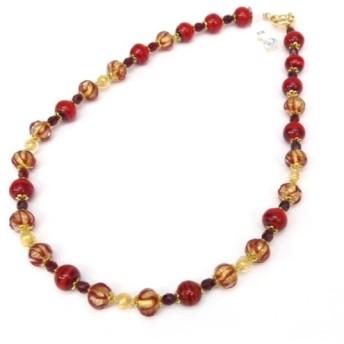 ムラノガラス MURANO GLASS ネックレス ベネチアングラス 赤系 46.5cm(51028)