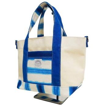 琉球藍染トートバッグ 小さいサイズ パターン1 2wayトートバッグ レディース ハンドメイドトート 軽量 使いやすいトート made in Japan