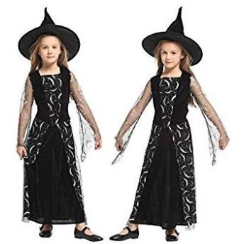ハロウィン 子供 魔女 ウィッチ コスプレ 衣装 Cuteshower キッズコスチューム 女の子 ワンピース ブラック 120