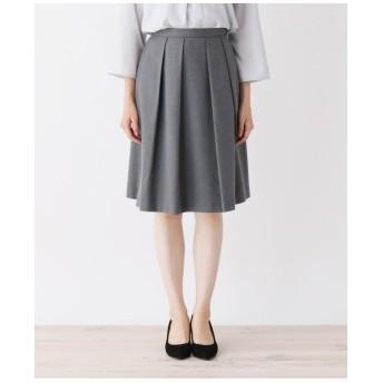 【大きいサイズあり・13号・15号】ウール風タックフレアスカート