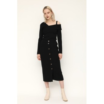 FRONT BUTTON UP RIB KNIT SK