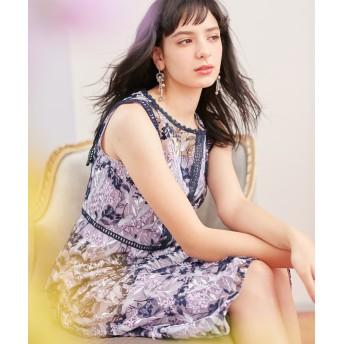 【オンワード】 TOCCA(トッカ) 【TOCCA LAVENDER】Wavy Embroidery ドレス ネイビー 0 レディース 【送料無料】