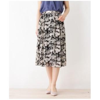 【大きいサイズあり・13号・15号】アシメプリーツモノトーンフラワースカート