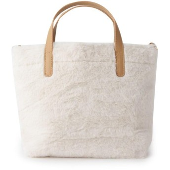 ◆2WAYロゴ刺繍エコファーショルダーバッグ