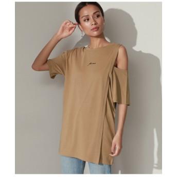 刺繍ロゴスリットショルダーTシャツ