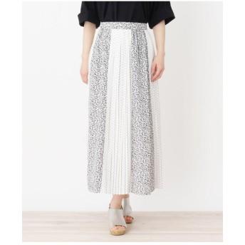 【洗える】フラワー×ドット切り替えスカート