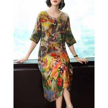 Women Short Sleeve O-neck Floral Print Elegant Dress Floral / 10