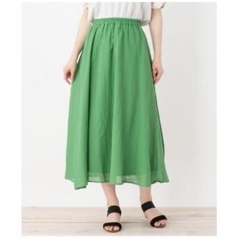 【WEB限定カラー・022(グリーン)093(ネイビー)】エアリーコットンシフォンミモレスカート