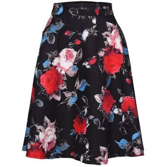 女性の花柄プリントハイウエストスカートレトロサマーファッションプリントハイウエストスケートボードスカートミニスカート