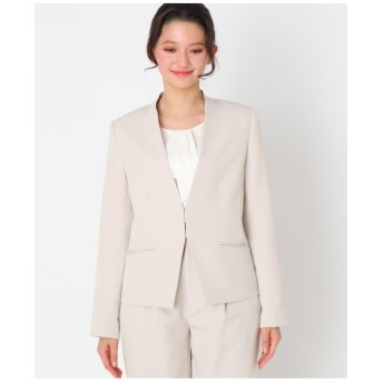 【ママスーツ/入学式 スーツ/卒業式 スーツ】キーネックジャケット