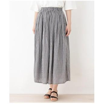 【洗える】ボイルギンガムマキシスカート