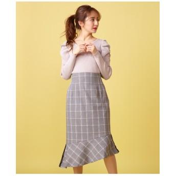 チェック柄ペプラムスカート