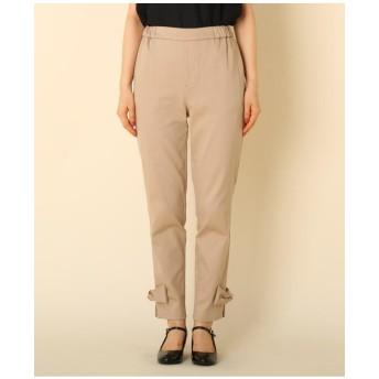 【WEB限定プライス/WEB限定サイズ(LL)あり/手洗い可】サテンストレッチ裾リボンパンツ