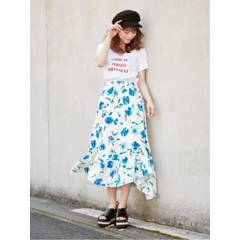 花柄アシンメトリースカート