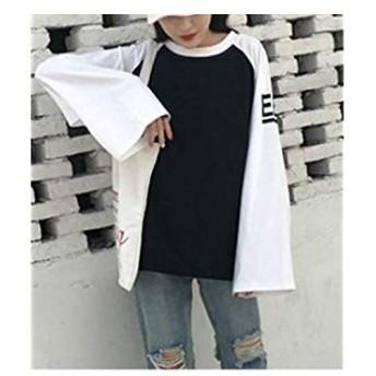 ブブ オーハナ チュニック ビッグシルエット オーバーサイズ チュニックシャツ フリル ティシャツ (黒 白 L)