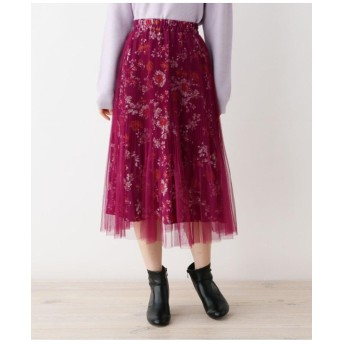 チュールレイヤードフラワープリントスカート