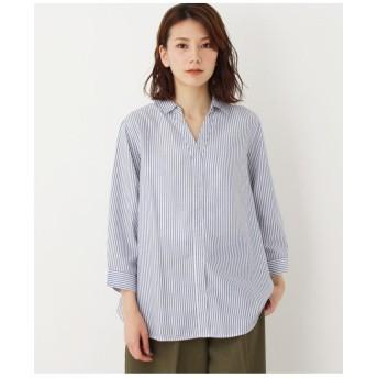 ストライプスキッパーシャツ(七分袖)