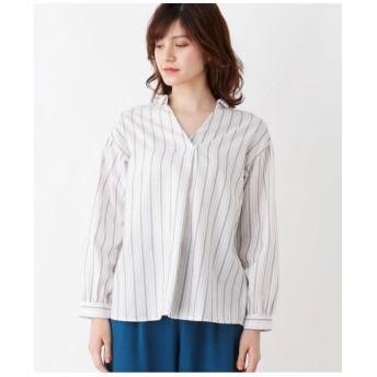 【防シワ】プルオーバーストライプシャツ