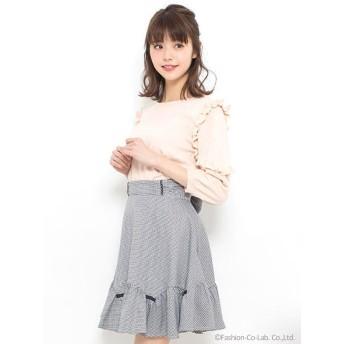 ギンガムミニリボン付スカート