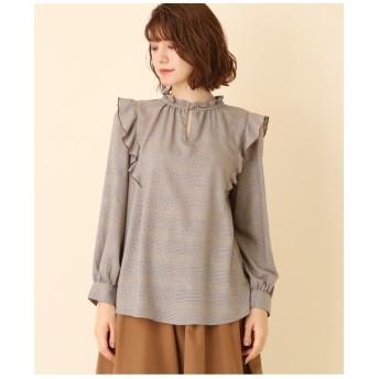 【WEB限定サイズ(LL)あり/手洗い可】フリルハイネックシャツ