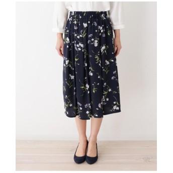 【大きいサイズあり・13号・15号】水彩フラワー柄スカート