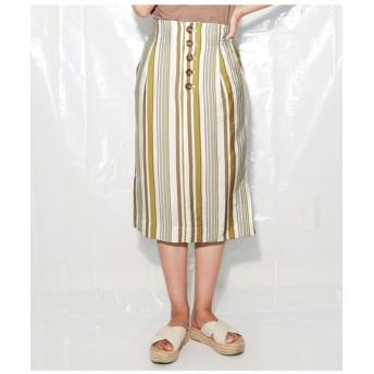 【Alluge】 マルチストライププリントタイトスカート
