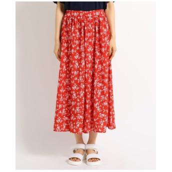 花柄切り替え楊柳スカート