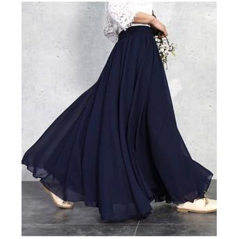 3層シフォンフレアマキシスカート