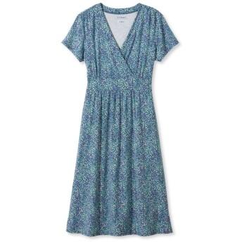 サマー・ニット・ドレス、半袖 マルチ・フローラル・プリント/Summer Knit Dress, Short-Sleeve Multi-Floral Print