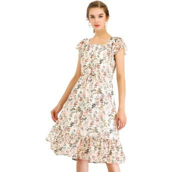 Allegra K 花柄 フリルワンピース ボヘミア ベルト付き スクエアネック フリル裾 ドレス 膝丈 レディース ホワイト XS